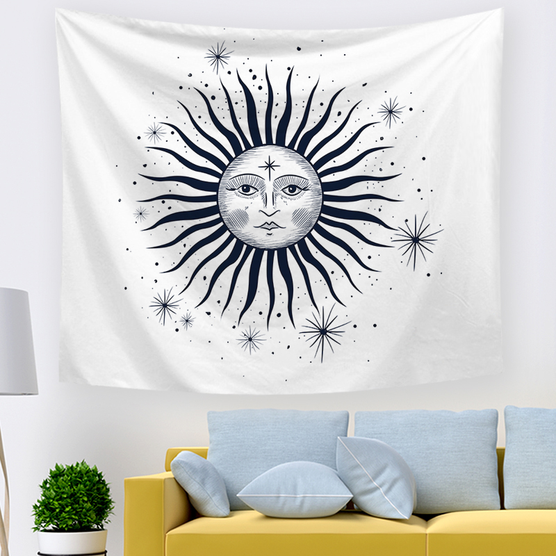 Monad Custom Made Decorative Black Sun Art Living Room Wall Hangings Tapestry