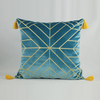 Monad Online 100 Polyester Velvet Blue Embroidery Cushion Cover With Tassels