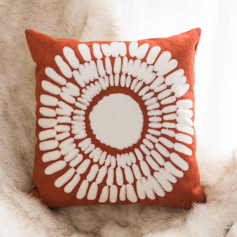 Modern Unique Design Case Red Geometric Machine Embroidery Cushion Cover