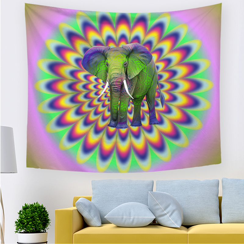 Large Hanging India Hippie Ganesha Animal Elephant Polyester Printed Tapestry