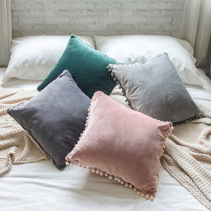 Monad Decorative Solid Plain Velvet Cushion Cover with Cute PomPom Trimming