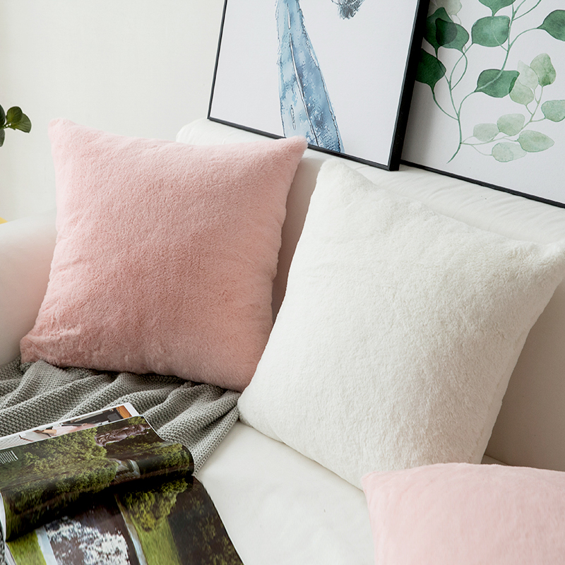 Monad Wholesale 40x40 Super Soft Solid Short Fur Cushion Pillow Cover Sets For Home Decor