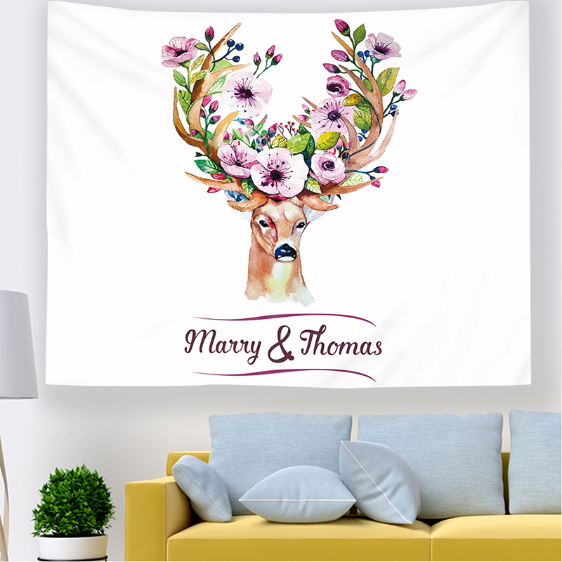 Monad Decorative Colorful Animal Flower Feather Wall Hangings Tapestry