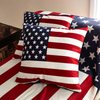 Monad Red Blue Flag Back 100% polyester Design Printed Cushion Covers